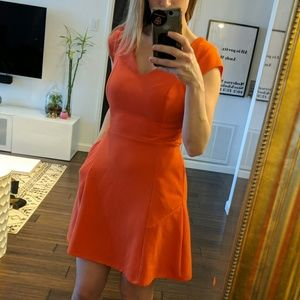 Textured Coral Spring Work Dress with Pockets